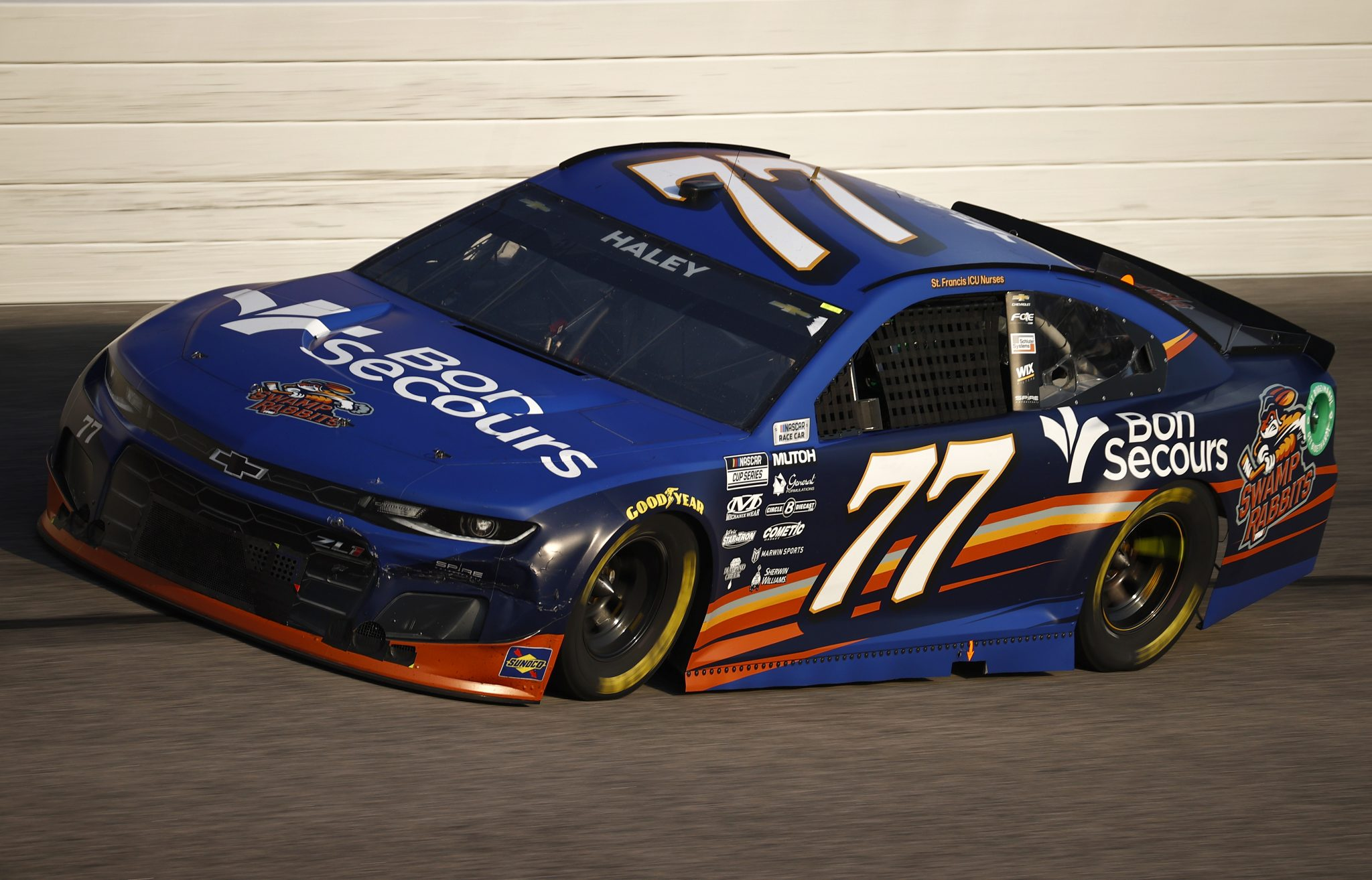 DARLINGTON, SOUTH CAROLINA - SEPTEMBER 05: Justin Haley, driver of the #77 Bon Secours/Swamp Rabbits Chevrolet, drives during the NASCAR Cup Series Cook Out Southern 500 at Darlington Raceway on September 05, 2021 in Darlington, South Carolina. (Photo by Jared C. Tilton/Getty Images) | Getty Images
