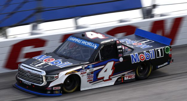 DARLINGTON, SOUTH CAROLINA - SEPTEMBER 05: John H. Nemechek, driver of the #4 Mobil 1 Toyota, drives during the NASCAR Camping World Truck Series In It To Win It 200 at Darlington Raceway on September 05, 2021 in Darlington, South Carolina. (Photo by Jared East/Getty Images) | Getty Images