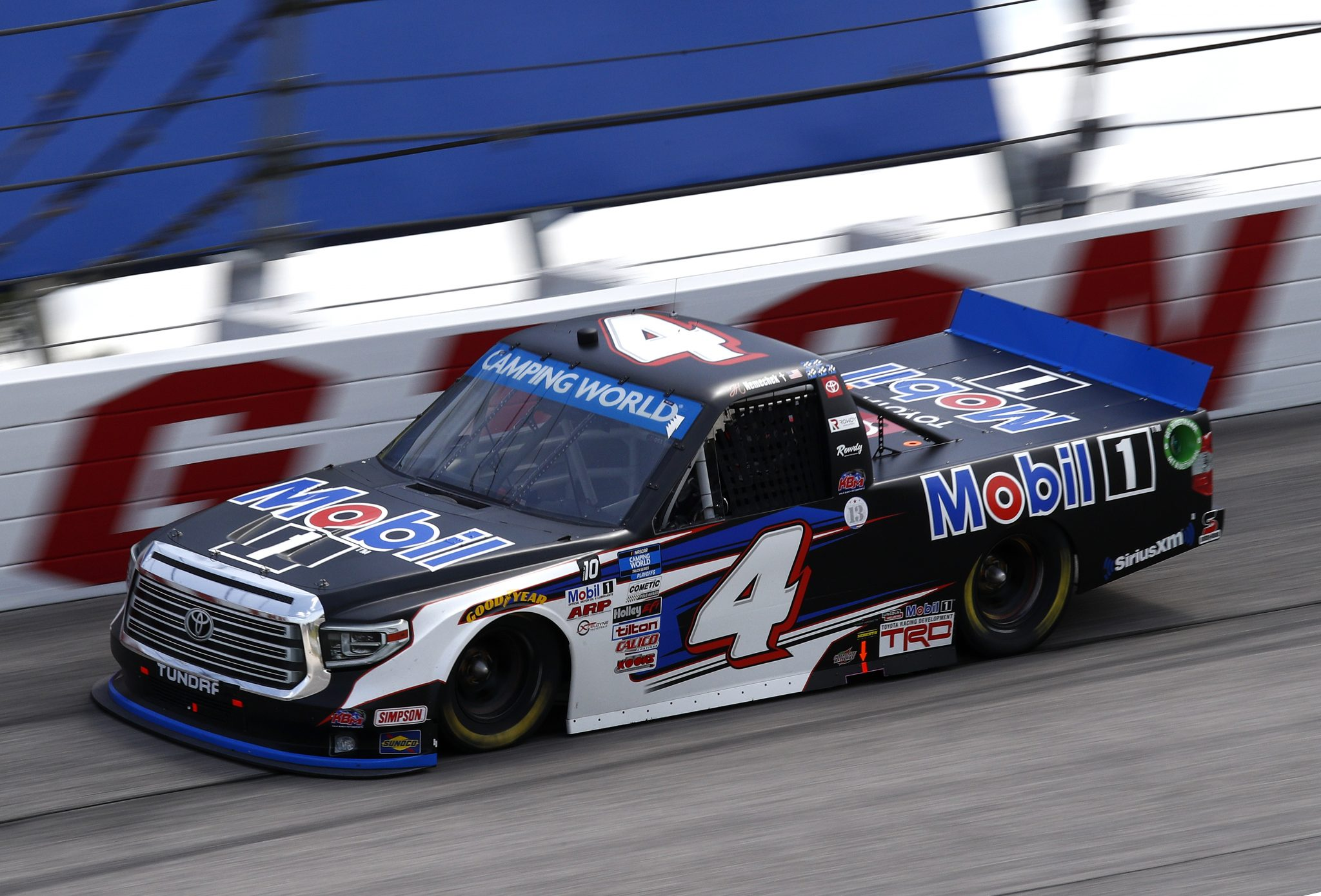 DARLINGTON, SOUTH CAROLINA - SEPTEMBER 05: John H. Nemechek, driver of the #4 Mobil 1 Toyota, drives during the NASCAR Camping World Truck Series In It To Win It 200 at Darlington Raceway on September 05, 2021 in Darlington, South Carolina. (Photo by Jared East/Getty Images)   Getty Images