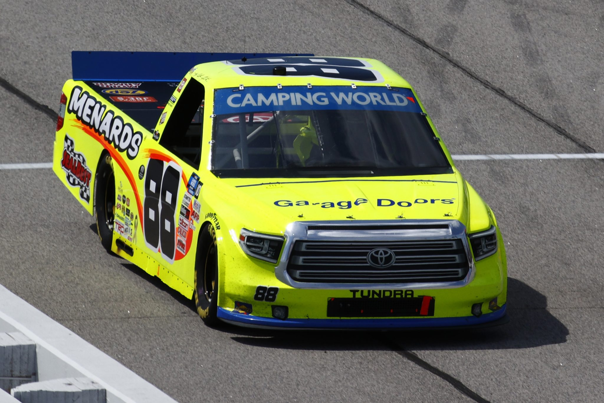 DARLINGTON, SOUTH CAROLINA - SEPTEMBER 05: Matt Crafton, driver of the #88 Ideal Door/Menards Toyota, drives down pit road during the NASCAR Camping World Truck Series In It To Win It 200 at Darlington Raceway on September 05, 2021 in Darlington, South Carolina. (Photo by Jared C. Tilton/Getty Images)   Getty Images