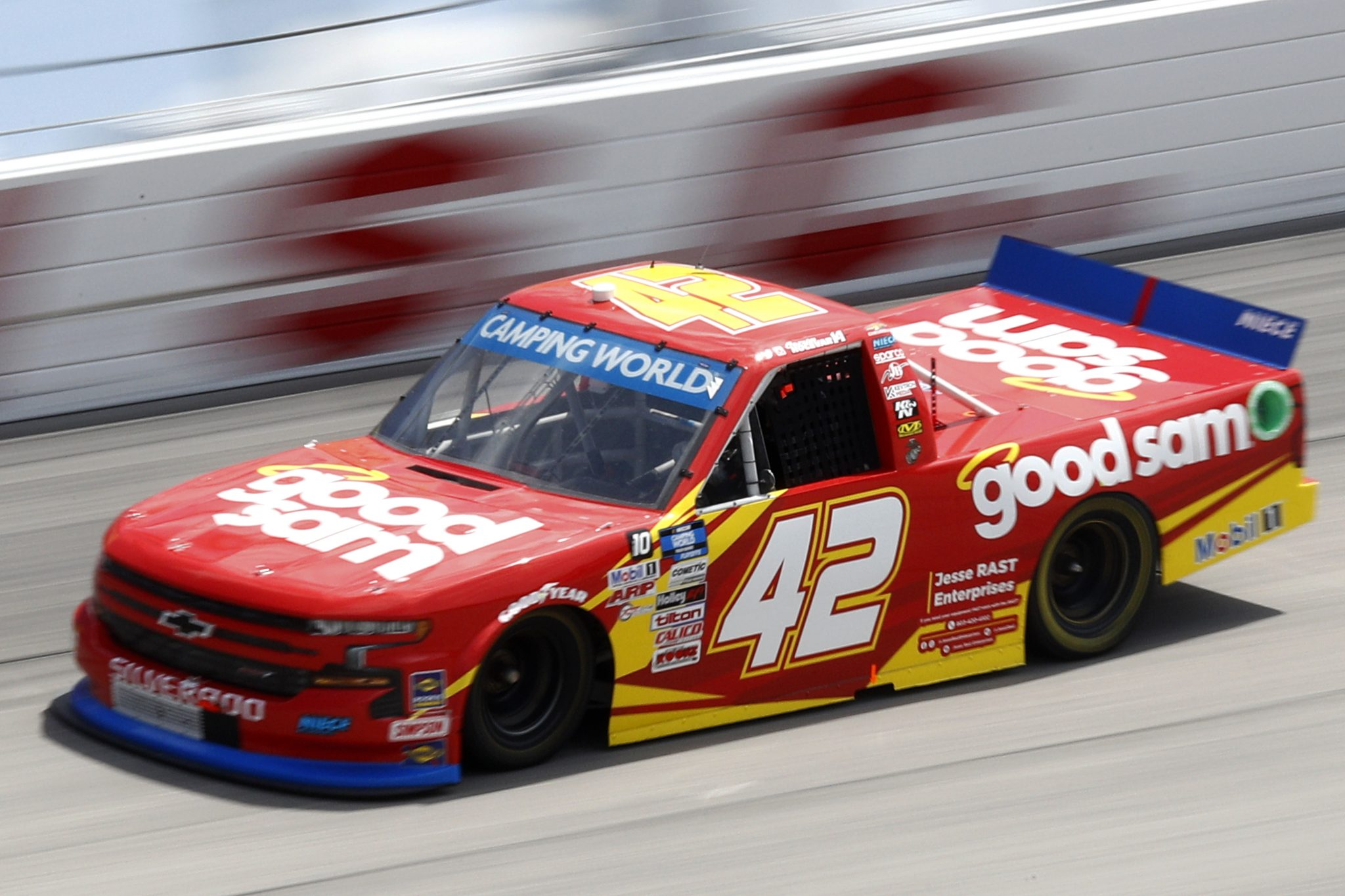 DARLINGTON, SOUTH CAROLINA - SEPTEMBER 05: Carson Hocevar, driver of the #42 Good Sam Chevrolet, drives during the NASCAR Camping World Truck Series In It To Win It 200 at Darlington Raceway on September 05, 2021 in Darlington, South Carolina. (Photo by Jared East/Getty Images)   Getty Images
