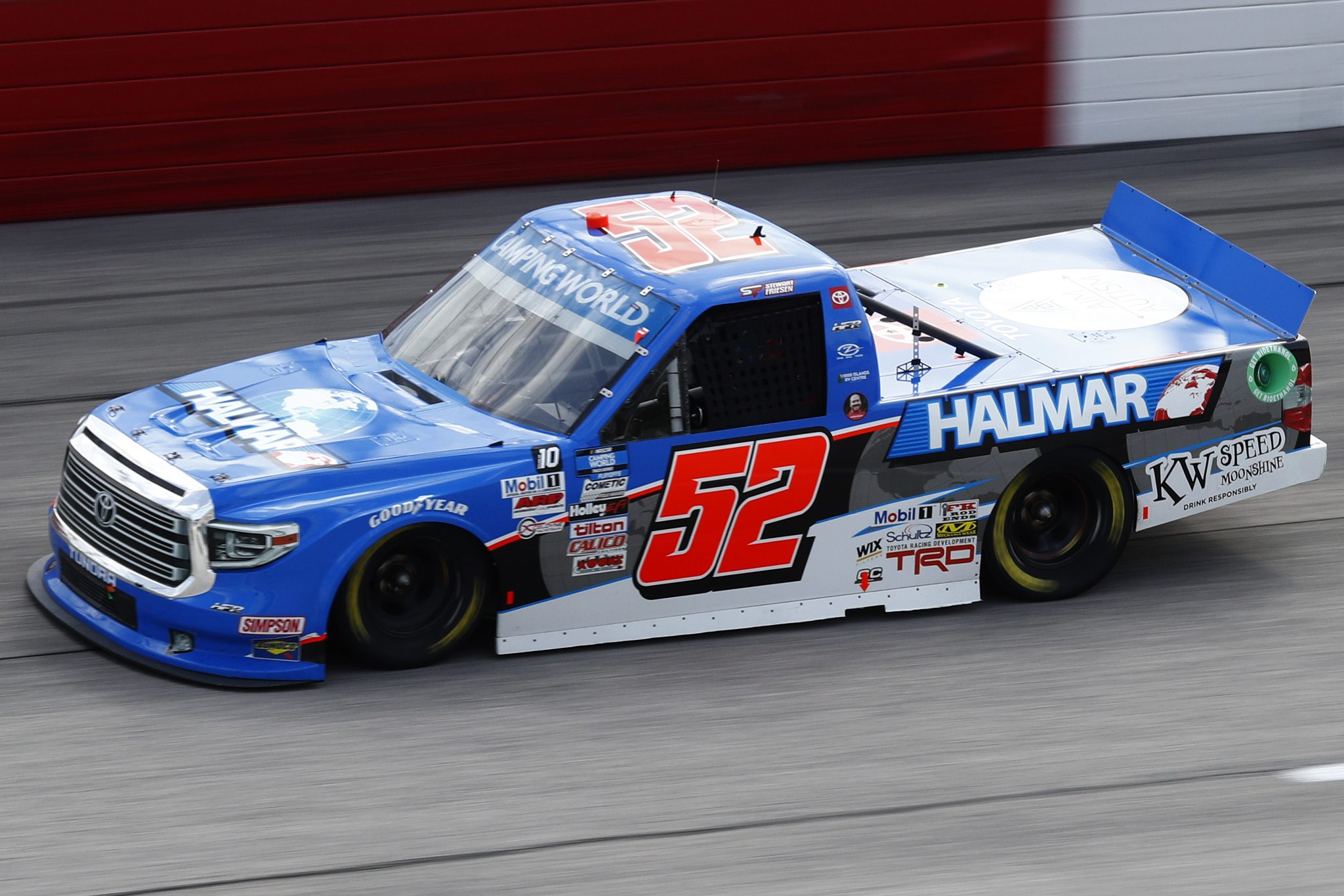 DARLINGTON, SOUTH CAROLINA - SEPTEMBER 05: Stewart Friesen, driver of the #52 Halmar International Toyota, drives during the NASCAR Camping World Truck Series In It To Win It 200 at Darlington Raceway on September 05, 2021 in Darlington, South Carolina. (Photo by Jared East/Getty Images)   Getty Images