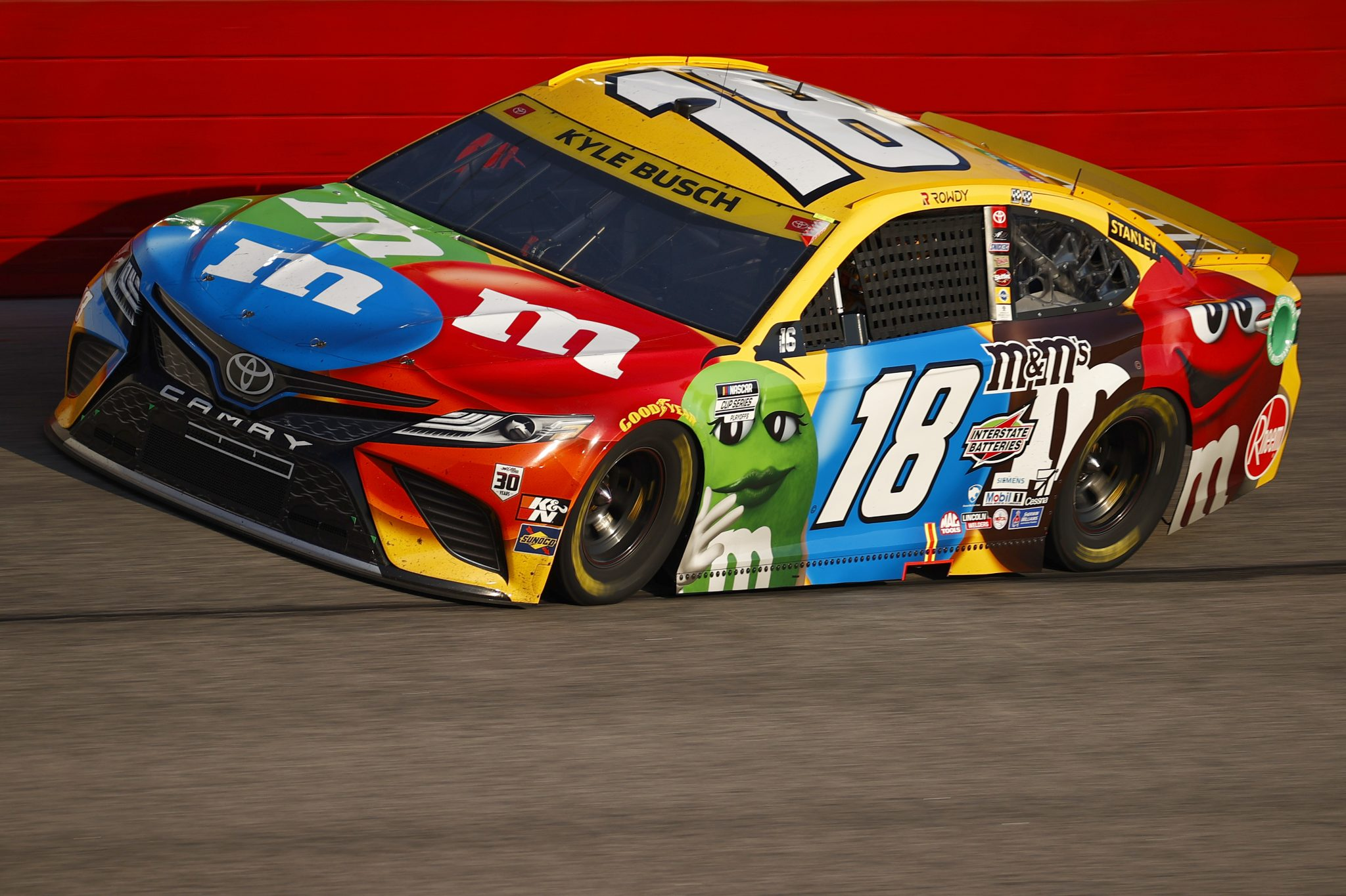 DARLINGTON, SOUTH CAROLINA - SEPTEMBER 05: Kyle Busch, driver of the #18 M&M's Toyota, drives during the NASCAR Cup Series Cook Out Southern 500 at Darlington Raceway on September 05, 2021 in Darlington, South Carolina. (Photo by Jared C. Tilton/Getty Images) | Getty Images