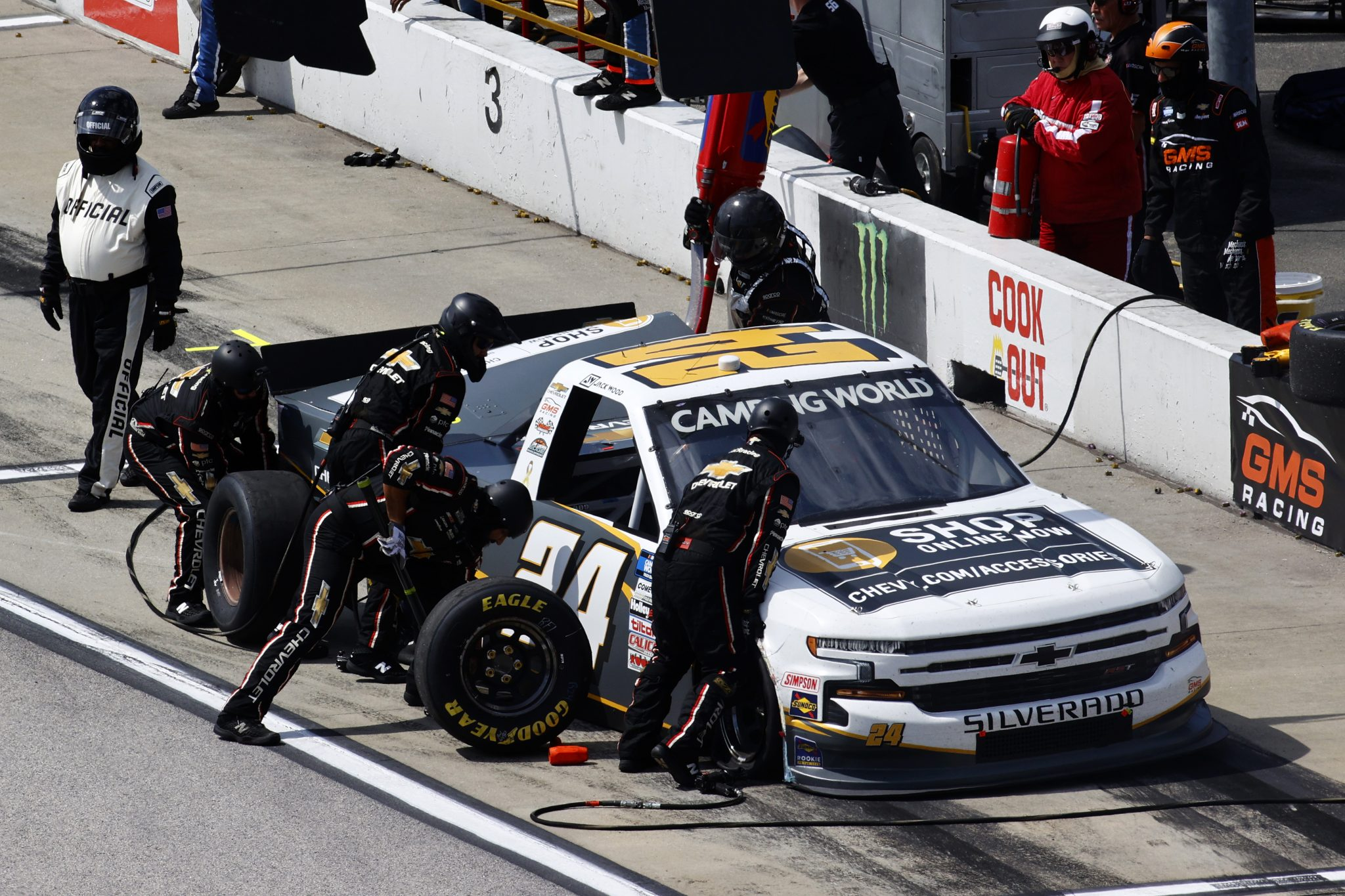 DARLINGTON, SOUTH CAROLINA - SEPTEMBER 05: Jack Wood, driver of the #24 Chevy Accessories Chevrolet, pits during the NASCAR Camping World Truck Series In It To Win It 200 at Darlington Raceway on September 05, 2021 in Darlington, South Carolina. (Photo by Jared C. Tilton/Getty Images)   Getty Images